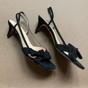 Kate Spade black suede kitten heels